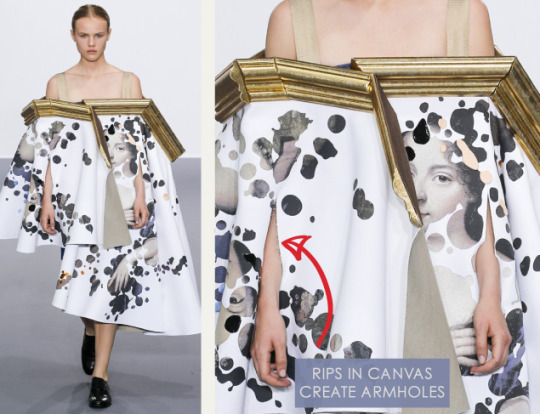 Balancing Frames and Canvas at Viktor & Rolf | The Cutting Class. Viktor & Rolf, Couture, AW15, Paris, Image 6. Rips in canvas create armholes.