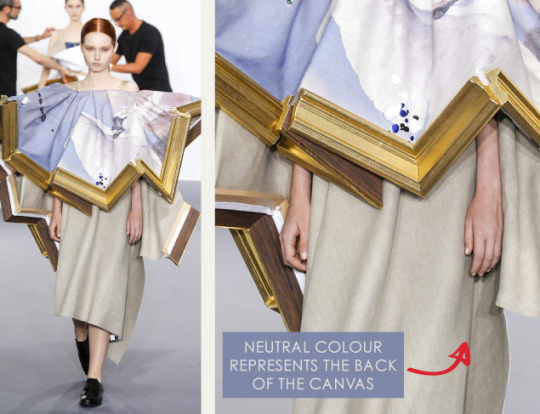 Balancing Frames and Canvas at Viktor & Rolf | The Cutting Class. Viktor & Rolf, Couture, AW15, Paris, Image 11. Neutral colour represents the back of the canvas.