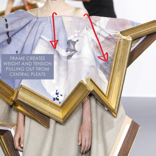 Balancing Frames and Canvas at Viktor & Rolf | The Cutting Class. Viktor & Rolf, Couture, AW15, Paris, Image 12. Frame creates weight and tension pulling out from central pleats.