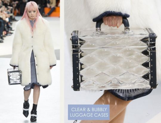 Wearable Innovation at Louis Vuitton | The Cutting Class. Louis Vuitton, AW15, Paris, Image 2. Clear and bubbly luggage cases.