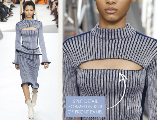 Wearable Innovation at Louis Vuitton | The Cutting Class. Louis Vuitton, AW15, Paris, Image 3. Split detail formed in knit of front panel.
