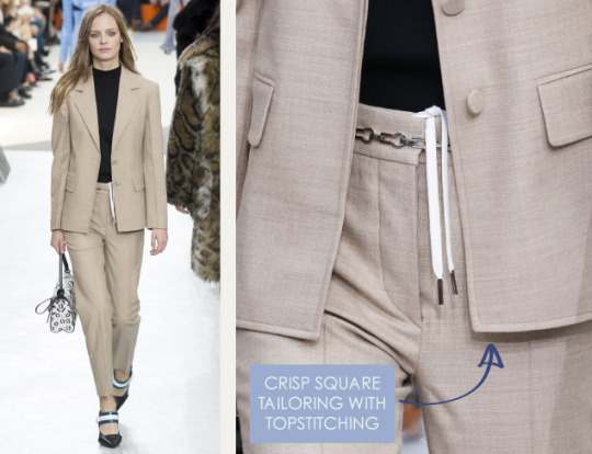 Wearable Innovation at Louis Vuitton | The Cutting Class. Louis Vuitton, AW15, Paris, Image 6. Crisp square tailoring with topstitching.