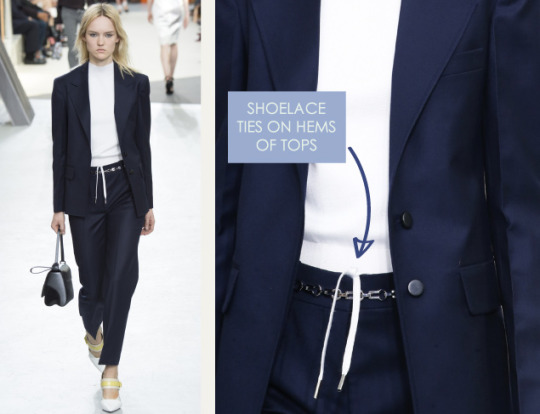 Wearable Innovation at Louis Vuitton | The Cutting Class. Louis Vuitton, AW15, Paris, Image 8. Shoelace ties on hems of tops.