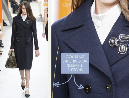 Wearable Innovation at Louis Vuitton | The Cutting Class. Louis Vuitton, AW15, Paris, Image 9. Contrast stitching on sleeve and buttons.