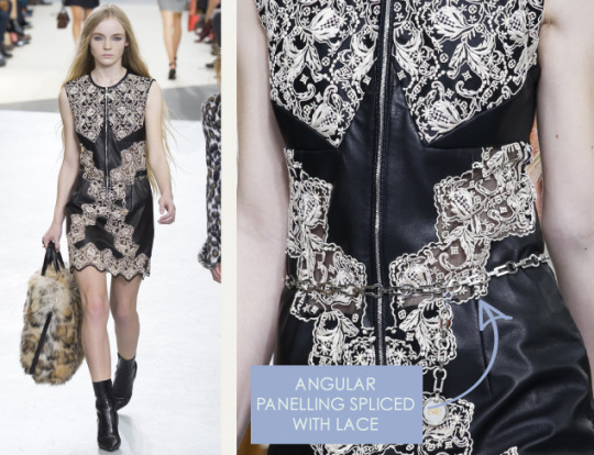 Wearable Innovation at Louis Vuitton | The Cutting Class. Louis Vuitton, AW15, Paris, Image 15. Angular panelling spliced with lace.