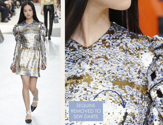 Wearable Innovation at Louis Vuitton | The Cutting Class. Louis Vuitton, AW15, Paris, Image 21. Sequins removed to sew darts.
