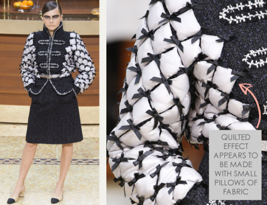Fabric Manipulations at Chanel. Chanel, AW15, Paris, Image 1. Quilted effect appears to be made with small pillows of fabric.