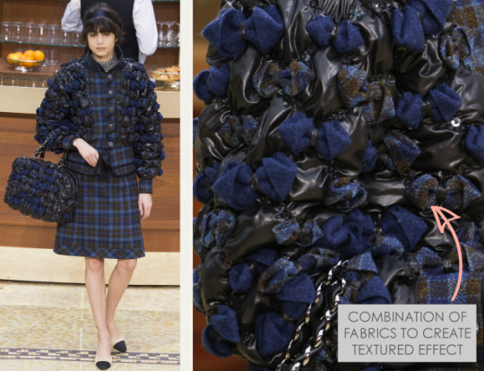 Fabric Manipulations at Chanel. Chanel, AW15, Paris, Image 4. Combinations of fabrics to create textured effect.