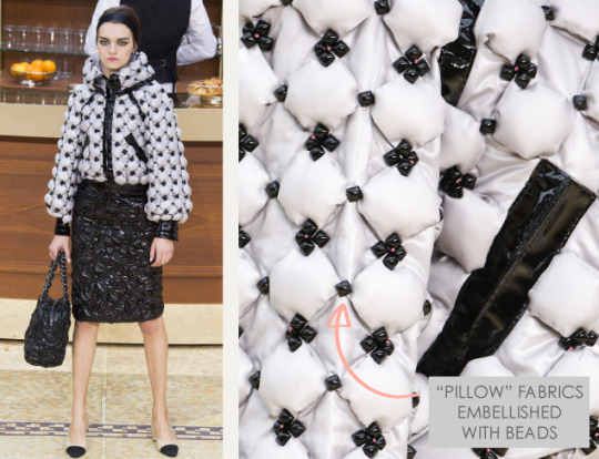Fabric Manipulations at Chanel. Chanel, AW15, Paris, Image 8. Pillow fabrics embellished with beads.