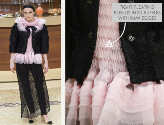 Fabric Manipulations at Chanel. Chanel, AW15, Paris, Image 14. Tight pleating blends into ruffles with raw edges.