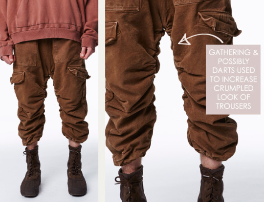 Is it ever ok to have bad finishes? The Cutting Class. Yeezy, SS16, New York, Image 3. Gathering and possibly darts used to increase crumpled look of trousers.