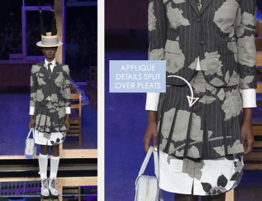 Shattered, Pleated Appliqué at Thom Browne | The Cutting Class. Thom Browne, SS16, New York, Image 3. Appliqué details split over pleats.