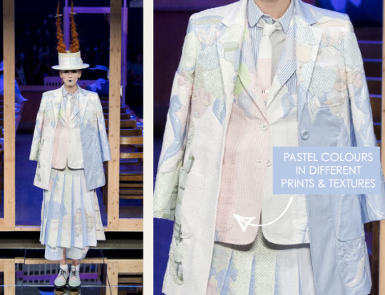 Shattered, Pleated Appliqué at Thom Browne | The Cutting Class. Thom Browne, SS16, New York, Image 7. Pastel colours in different prints and textures.