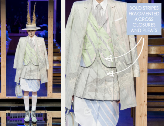 Shattered, Pleated Appliqué at Thom Browne | The Cutting Class. Thom Browne, SS16, New York, Image 9. Bold stripes fragmented across closures and pleats.