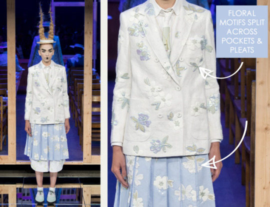 Shattered, Pleated Appliqué at Thom Browne | The Cutting Class. Thom Browne, SS16, New York, Image 10. Floral motifs split across pockets and pleats.