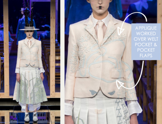 Shattered, Pleated Appliqué at Thom Browne | The Cutting Class. Thom Browne, SS16, New York, Image 11. Appliqué worked over welt pocket and pocket flaps.