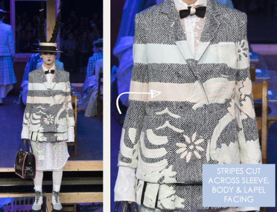 Shattered, Pleated Appliqué at Thom Browne | The Cutting Class. Thom Browne, SS16, New York, Image 14. Stripes cut across sleeve, body and lapel facing.
