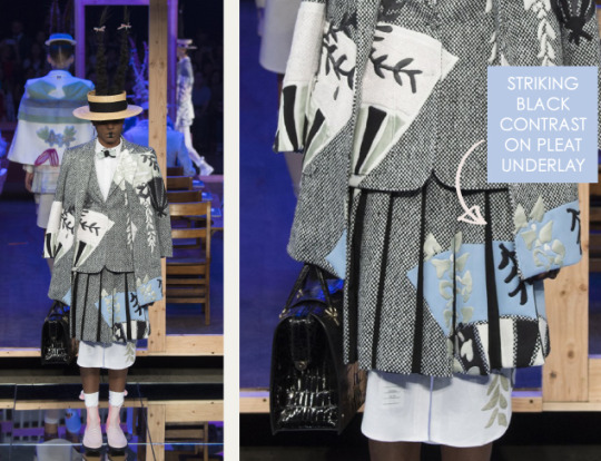 Shattered, Pleated Appliqué at Thom Browne | The Cutting Class. Thom Browne, SS16, New York, Image 16. Striking black contrast on pleat underlay.
