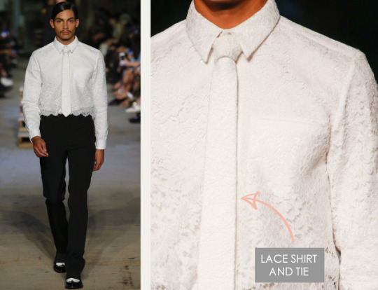Lingerie and Tailoring at Givenchy | The Cutting Class. Givenchy, SS16, New York, Image 24. Lace shirt and tie.