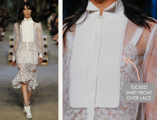 Lingerie and Tailoring at Givenchy | The Cutting Class. Givenchy, SS16, New York, Image 26. Tucked shirt front over lace.