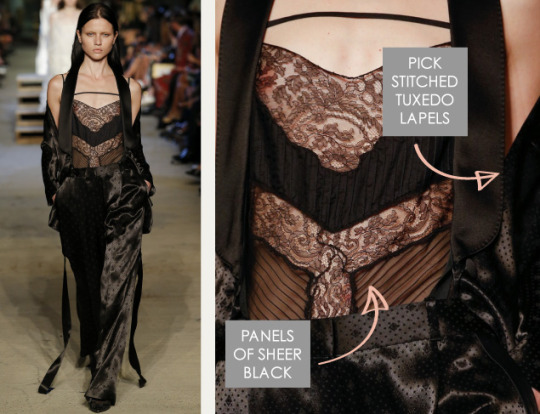 Lingerie and Tailoring at Givenchy | The Cutting Class. Givenchy, SS16, New York, Image 29. Panels of sheer black, pickstitched tuxedo lapels.