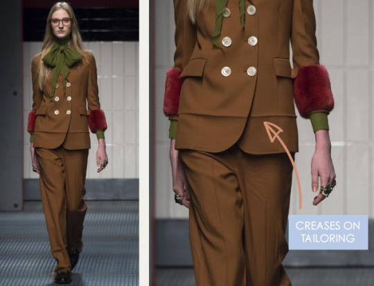 Crushed and Creased Tailoring at Gucci | The Cutting Class. Gucci, AW15, Milan, Image 14. Creases on tailoring.