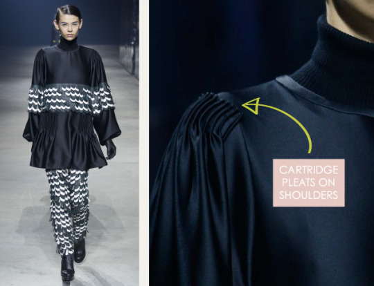 Pleats and Contrasts at Kenzo | The Cutting Class. Kenzo, AW15, Paris, Image 5. Cartridge pleats on shoulders.