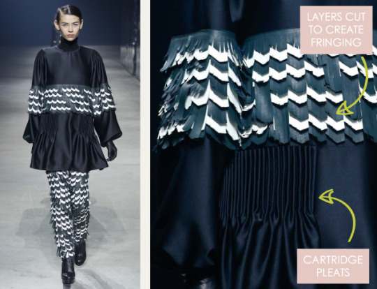 Pleats and Contrasts at Kenzo | The Cutting Class. Kenzo, AW15, Paris, Image 6. Layers cut to create fringing.