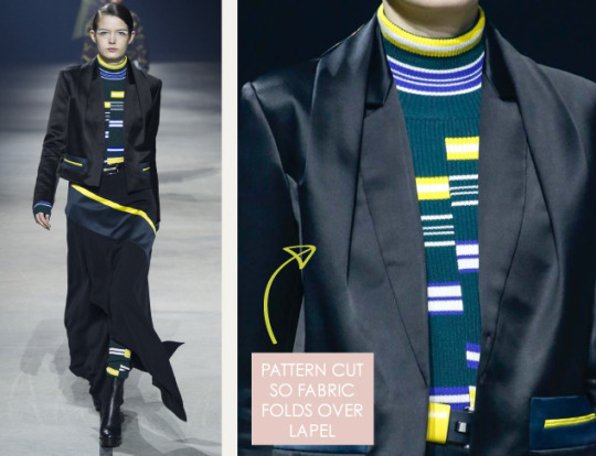 Pleats and Contrasts at Kenzo | The Cutting Class. Kenzo, AW15, Paris, Image 7. Pattern cut so fabric folds over lapel.