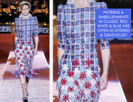 Deconstructed Americana at Marc Jacobs   The Cutting Class. Marc Jacobs, SS16, New York, Image 2. Patterns and embellishements are scattered and dishevelled.