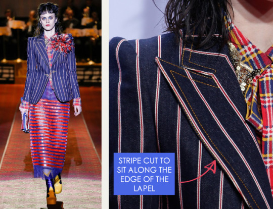 Deconstructed Americana at Marc Jacobs | The Cutting Class. Marc Jacobs, SS16, New York, Image 7. Stripe cut to sit along edge of the lapel.
