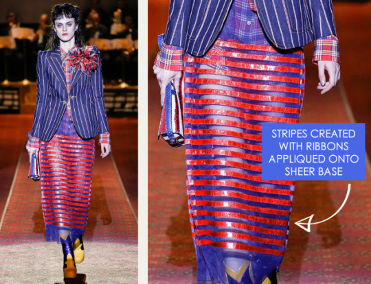 Deconstructed Americana at Marc Jacobs   The Cutting Class. Marc Jacobs, SS16, New York, Image 8. Stripes created with ribbons appliquéd onto sheer base.