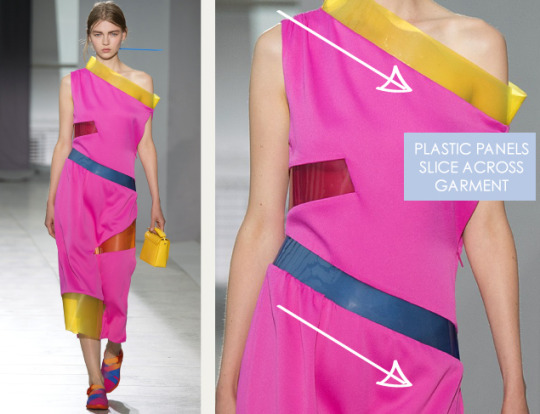 Graphic Movement at Christopher Kane | The Cutting Class. Christopher Kane, SS16, London, Image 9. Plastic panels slice across garment.