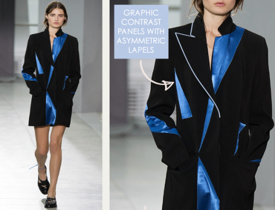 Graphic Movement at Christopher Kane | The Cutting Class. Christopher Kane, SS16, London, Image 15. Graphic contrast panels with asymmetric lapels.