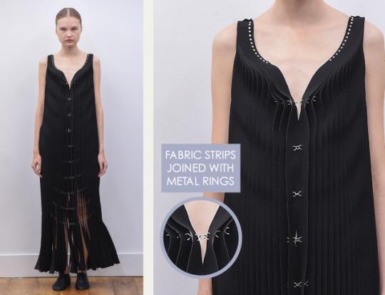 Rethinking Seams at Noir Kei Ninomiya | The Cutting Class. Noir Kei Ninomiya, SS16, Paris, Image 12. Fabric strips joined with metal rings.