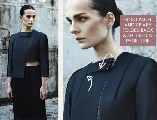 "Wearable Architecture at DZHUS | The Cutting Class. DZHUS, ""Totalitarium"", AW15, Kiev, Image 2. Front panel and zip are folded back and secured in panel line."
