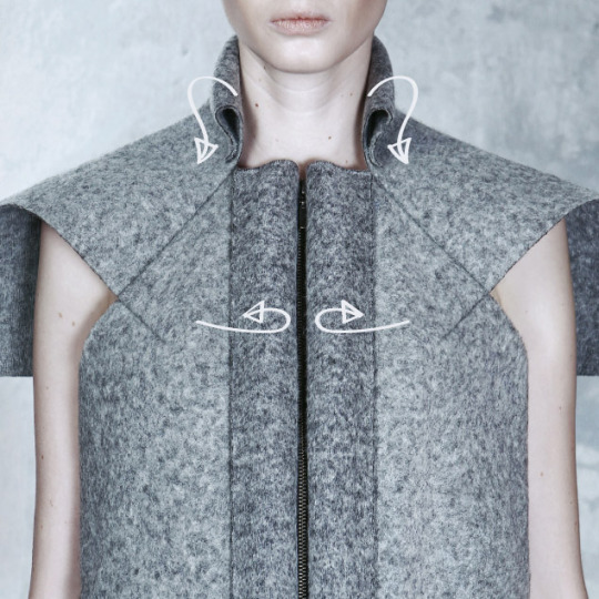 "Wearable Architecture at DZHUS | The Cutting Class. DZHUS, ""Totalitarium"", AW15, Kiev, Image 4. Details that fold back on themselves."