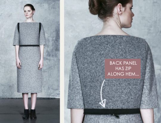 "Wearable Architecture at DZHUS | The Cutting Class. DZHUS, ""Totalitarium"", AW15, Kiev, Image 9. Back panel has zip along hem."