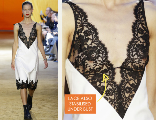 Lace Engineering at Céline | The Cutting Class. Céline, SS16, Paris, Image 3. Lace also stabilised under bust.