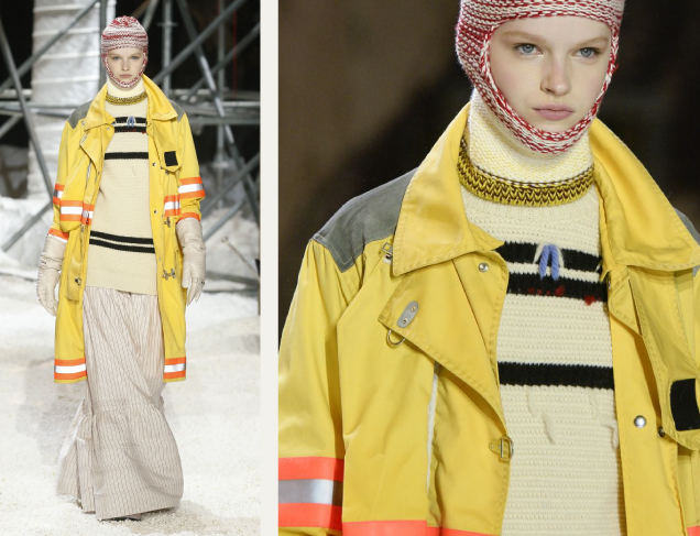 Pocket Bags at Calvin Klein AW18 on The Cutting Class. Image 2. Pocket bag in yellow jacket.