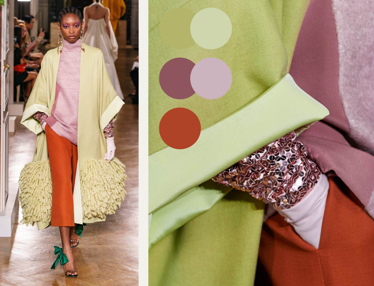 Bold Colour Combinations at Valentino Haute Couture AW19. The Cutting Class. Image 2. Green, mint, rust and shades of pink.