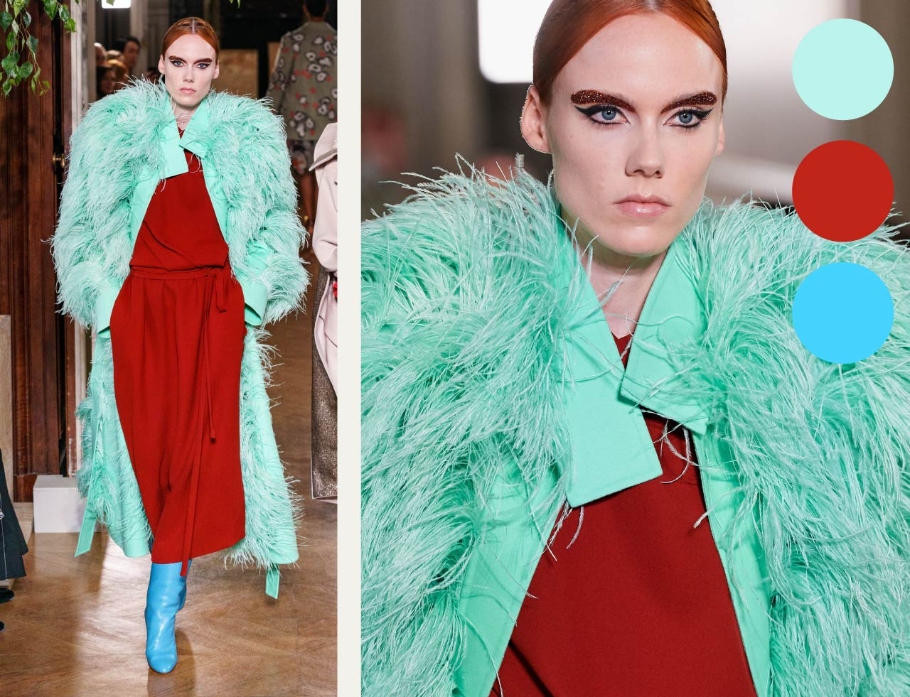 Bold Colour Combinations at Valentino Haute Couture AW19. The Cutting Class. Image 5. Mint feathers offset against rust and blue.