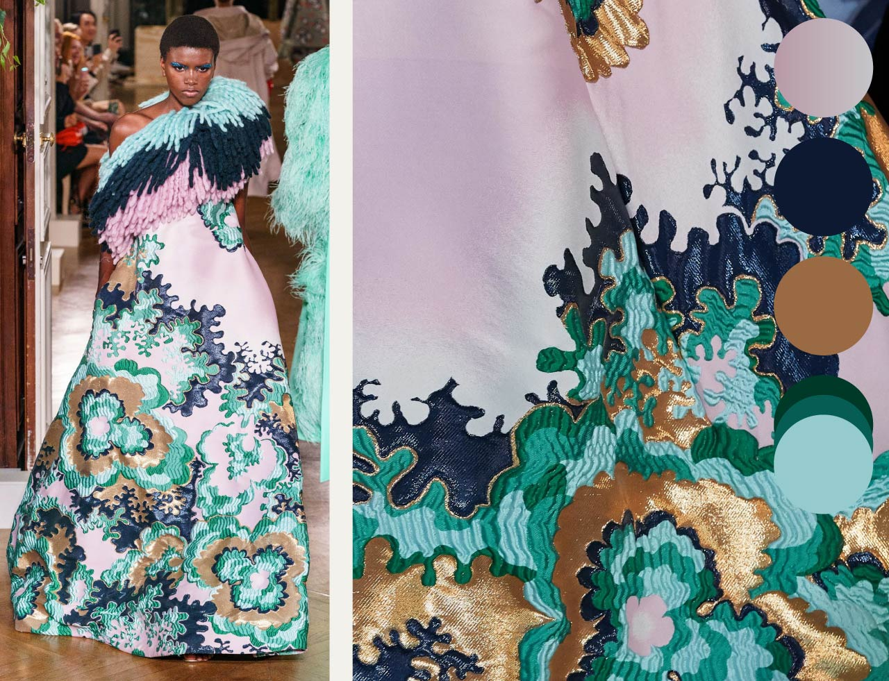 Bold Colour Combinations at Valentino Haute Couture AW19. The Cutting Class. Image 6. Shades of green with soft pink gradients.
