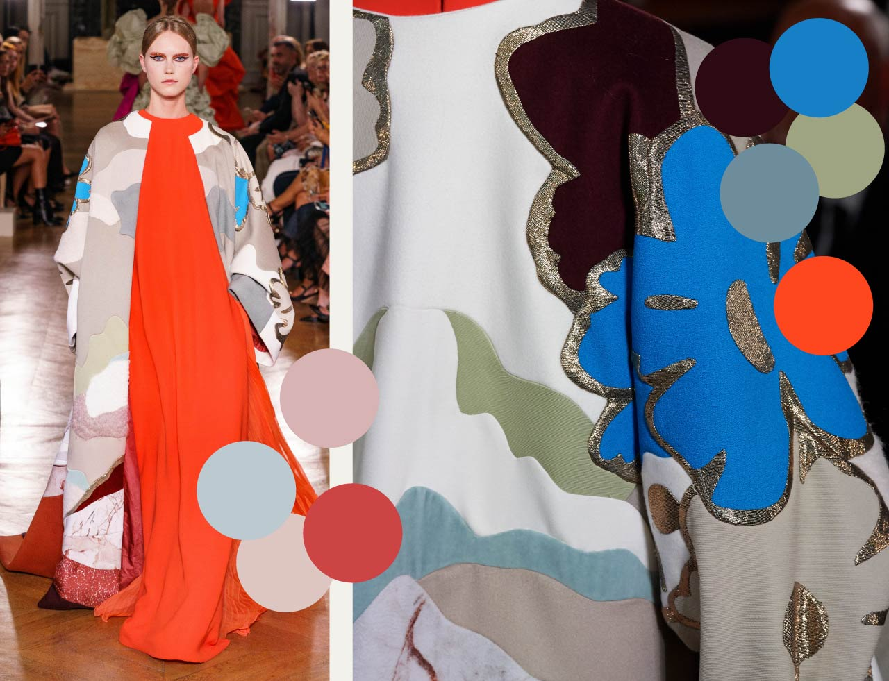 Bold Colour Combinations at Valentino Haute Couture AW19. The Cutting Class. Image 13. Clusters of colours across coat.