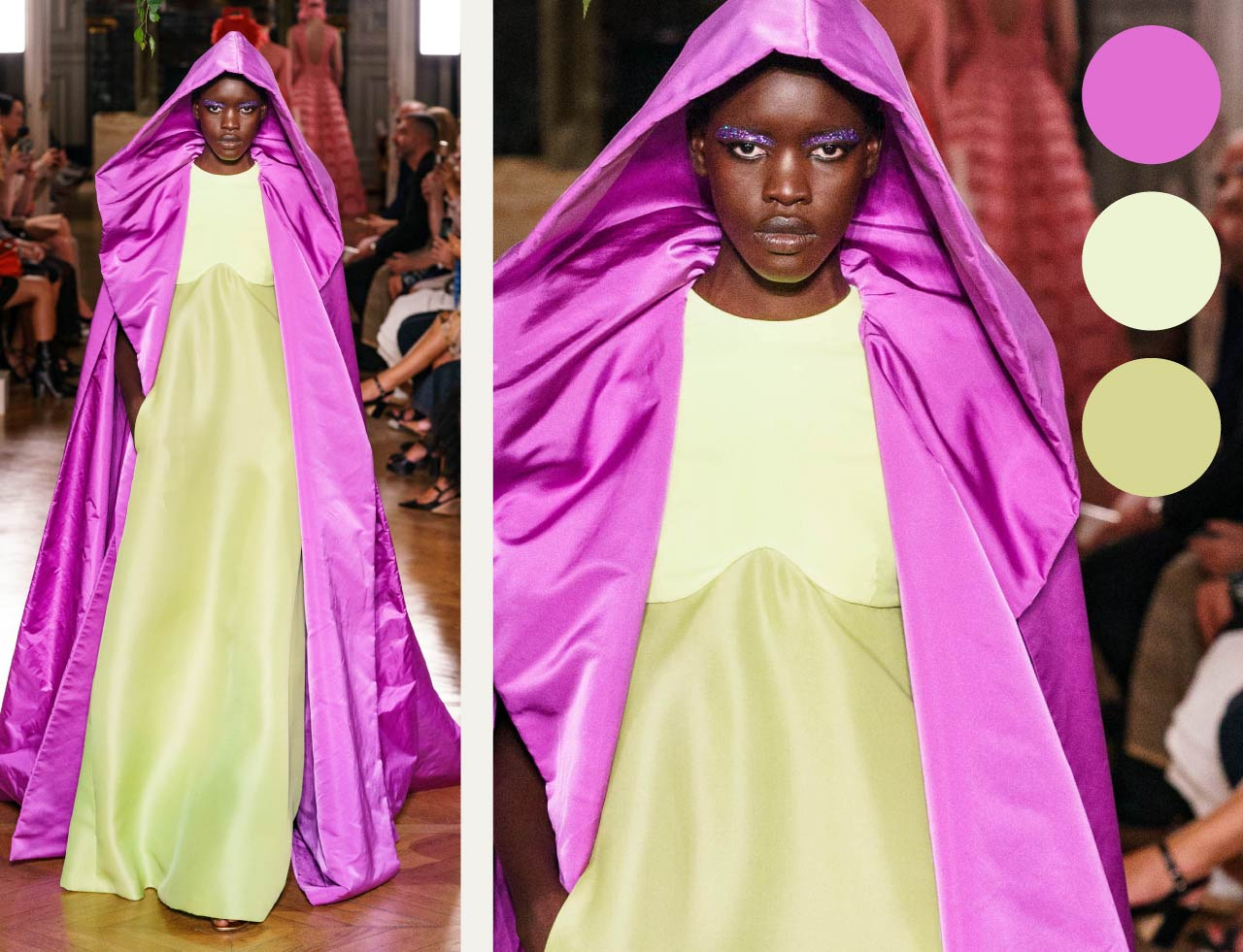 Bold Colour Combinations at Valentino Haute Couture AW19. The Cutting Class. Image 14. Vibrant purple against pistachio.