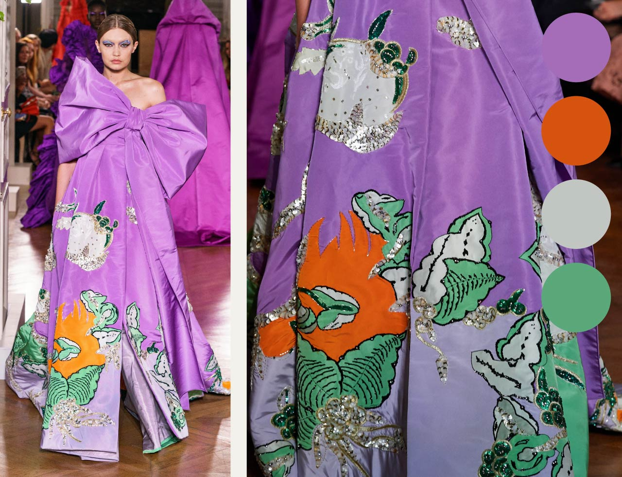 Bold Colour Combinations at Valentino Haute Couture AW19. The Cutting Class. Image 15. Gigi Hadid in purple accented with orange and green.