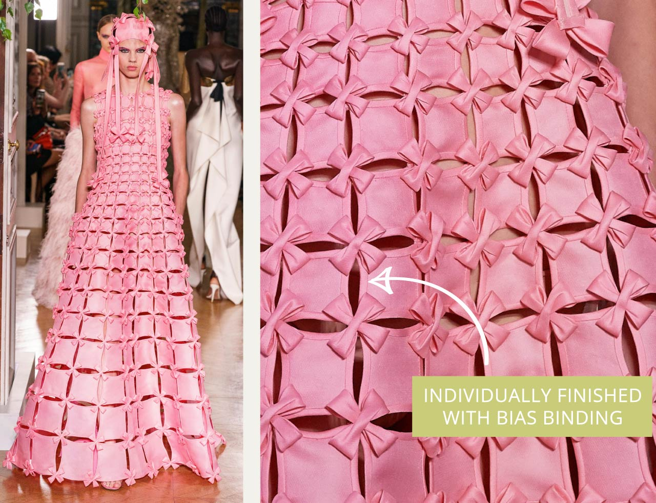 Glossary: Bias Binding at Valentino Couture AW19. Pink fabric pieces individually bound with bias binding.