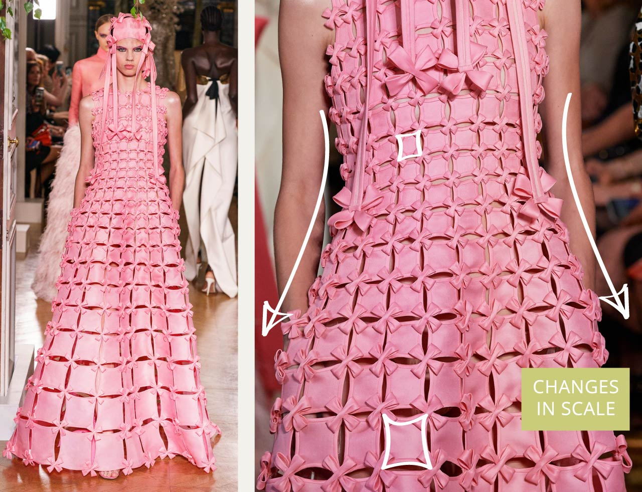 Glossary: Bias Binding at Valentino Couture AW19. Piece vary in scale down pink dress.