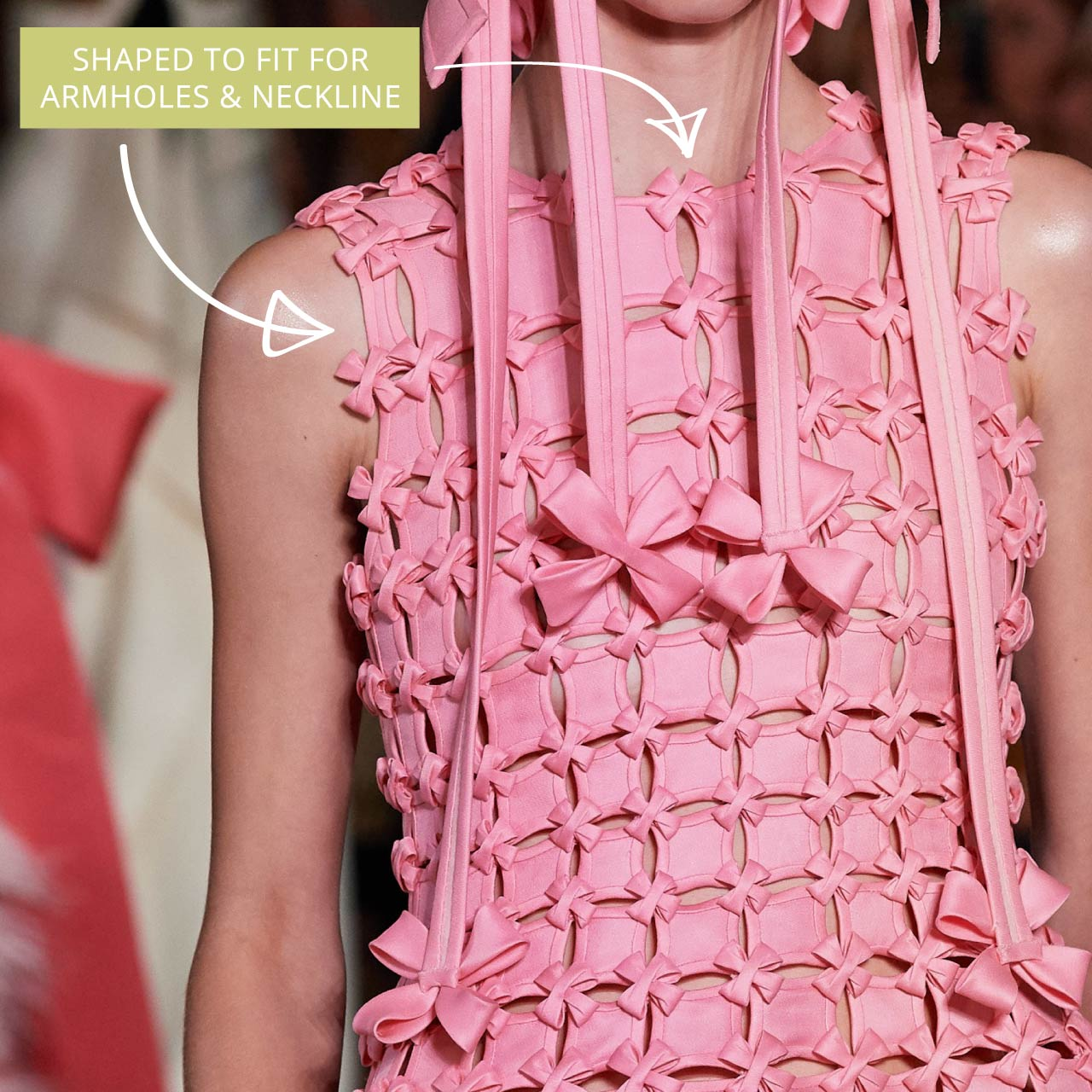 Glossary: Bias Binding at Valentino Couture AW19. Shaped for armhole and neckline.