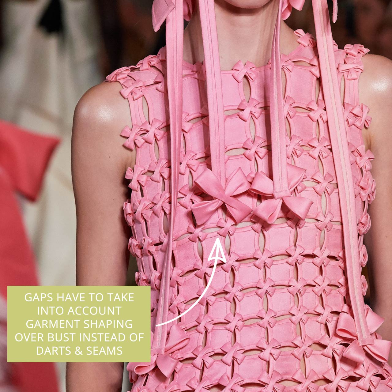 Glossary: Bias Binding at Valentino Couture AW19. Gaps take into account bust shaping instead of darts or seams.